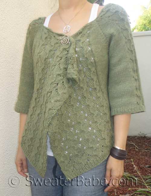 Lace Cardigan Knitting Pattern : Drape-Front Top-Down Lace Cardigan PDF Knitting Pattern from SweaterBabe.com