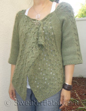 photo of #102 Drape-Front Top-Down Lace Cardigan PDF Knitting Pattern