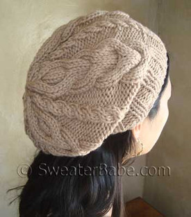 Slouchy Cable Knit Hat Pattern : Very popular Slouchy 2-Way Cabled Hat PDF Knitting Pattern from SweaterBabe.com