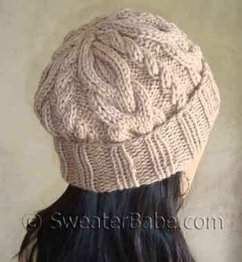 Very Popular Slouchy 2 Way Cabled Hat Pdf Knitting Pattern From