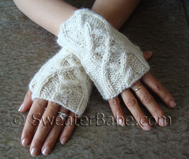 photo of #110 One Skein Cabled Fingerless Gloves PDF Knitting Pattern