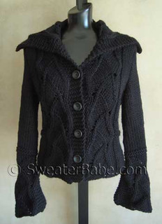 photo of #109 Lace Inset Shaped Cardigan or Vest PDF Knitting Pattern