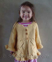 photo of #108 Girl&#039;s Ruffled Top-Down Cardigan PDF Knitting Pattern