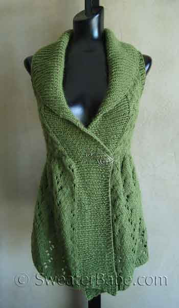 Knitting Pattern Vest : Long Lace Shawl-Collared Vest PDF Knitting Pattern from ...