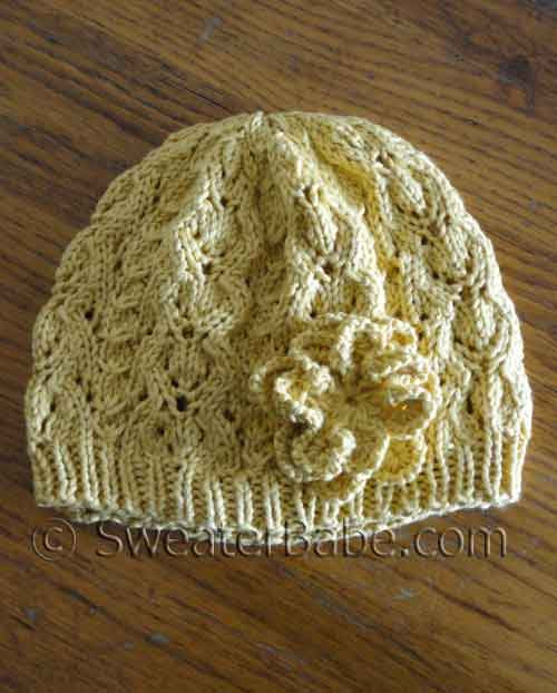 Knitting Pattern Lace Beret : PDF Knitting Pattern - Romantic Lace Beret Hat from SweaterBabe.com