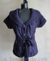 photo of #118 Fitted Cabled Shawl-Collared Vest PDF Knitting Pattern