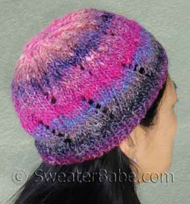 photo of #116 One-Ball Curvy Lace Hat PDF Knitting Pattern