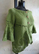 front photo of #119 Eyelets and Lace Curved Hem Cardigan PDF Knitting Pattern