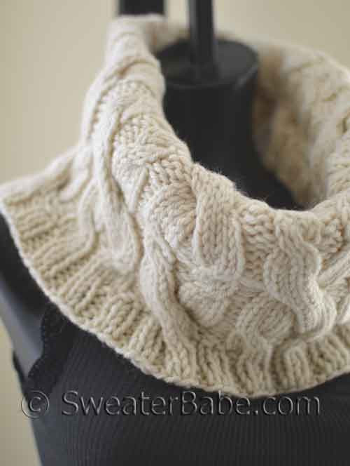 Cabled Cowl Knitting Pattern : Knitting Pattern - Double Cabled Cowl from SweaterBabe.com