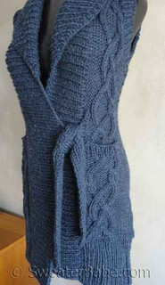 Photo of #122 Tie-Front Cabled Long Vest PDF Knitting Pattern