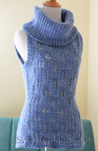 photo of #126 Malabrigo Sleeveless Cowl Neck Sweater PDF Knitting Pattern
