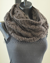 photo of #132 Sophisticated Cable and Lace Cowl PDF Knitting Pattern