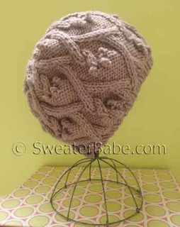 photo of #134 Slouchy Trellis Cabled Hat PDF Knitting Pattern