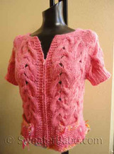 photo of #135 Babe Zip-Front Hello Kitty Cardigan and Cowl Set PDF Knitting Pattern without cowl.
