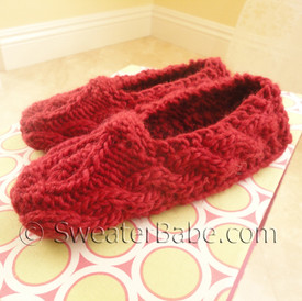 photo of #143 One-Skein Sweetheart Slippers PDF Knitting Pattern