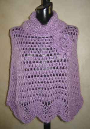 Free Crochet Patterns For Cowl Neck Poncho : Cowl Neck Mohair Poncho Crochet Pattern from SweaterBabe.com