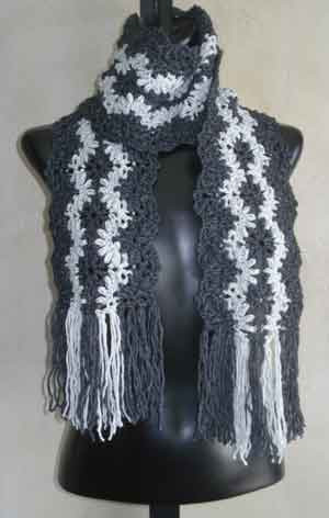 Free Crochet Pattern Striped Scarf : Lacy Striped Scarf Crochet PDF Pattern from SweaterBabe.com