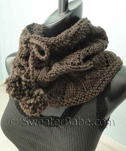 Free Knitting Pattern - Drawstring Lace Seamless Cowl from SweaterBabe.com
