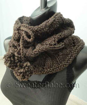photo of free #142 Drawstring Lace Cowl PDF Knitting Pattern