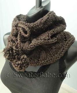 photo of free #142 Drawstring Lace Cowl PDF Knitting Pattern