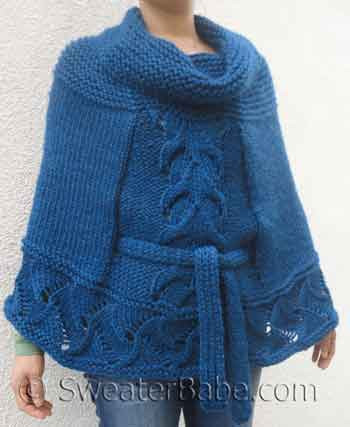 Cowl Neck Poncho Knitting Pattern : Knitting Pattern for Cowl Neck Belted Poncho from SweaterBabe.com