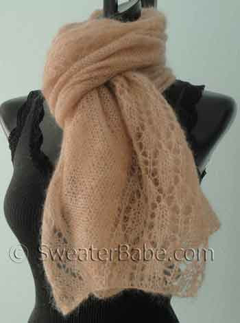Knitting Pattern for blush kid silk mohair lace shawl scarf from SweaterBabe.com