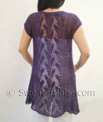 Lace Cardigan Knitting Pattern : Knitting Pattern for Whispering Leaves Lace Top-down Tunic Cardigan from Swea...