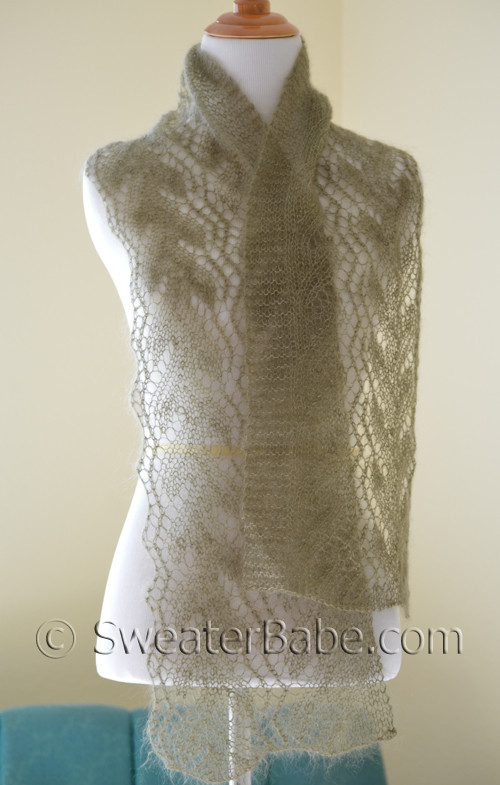 Knitting Pattern for Gossamer One-Ball Lace Scarf pattern from SweaterBabe.co...