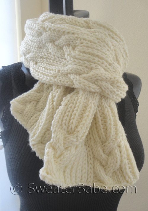 knitting pattern for ultimate chunky cables and ribs scarf
