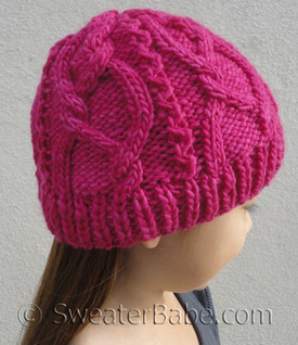 knitting pattern photo for #160 Meandering Cables One-Ball Hat