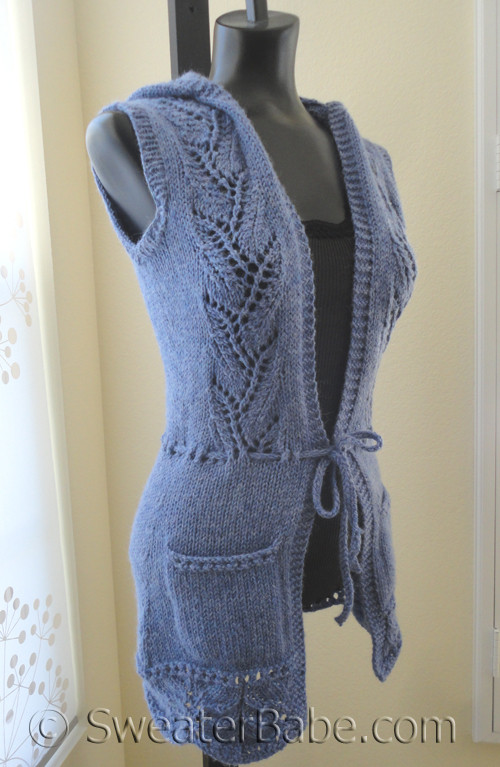 Knitting Pattern Hooded Vest : PDF Knitting Pattern for Sweet Hooded Lace Vest from ...