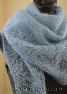 knitting pattern photo of #172 Cloudy Skies Diaphanous Scarf