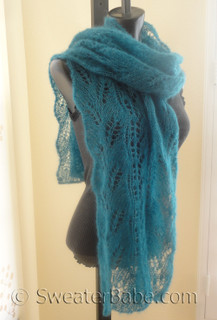 snowdrop and curved leaf lace scarf knitting pattern photo