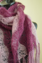 annabelle striped stole/scarf knitting pattern shown in stole size