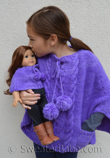 stolen hearts poncho knitting pattern shown in size 8 with doll-sized version too