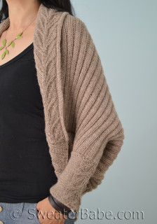 tabitha cocoon cardigan knitting pattern, with knit cuffs
