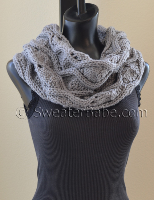 Knitting Patterns Wave Scarf : PDF Knitting Pattern for Chunky Waves Eternity Scarf from SweaterBabe.com