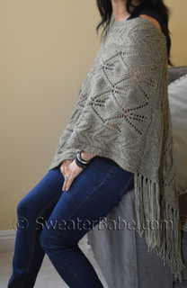 off-kilter lace poncho knitting pattern