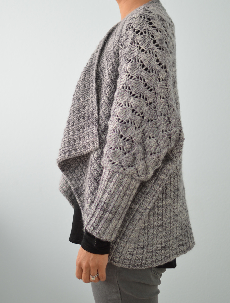 Eliza in a Cozy Cardigan Knit by Mom! - Knitting Patterns Blog from SweaterBa...