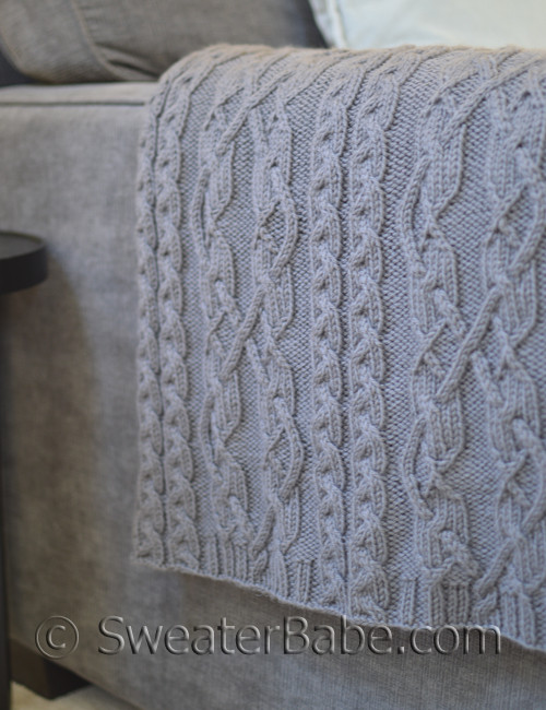 Threaded Cables Throw Knitting Pattern