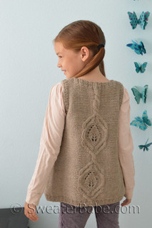 kiana cabled vest for girls knitting pattern