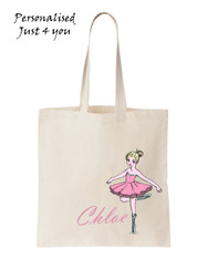 PERSONALISED Name Favour Party Gift Canvas Tote Bag  Ballet dancer