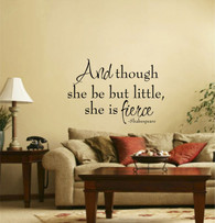 ★and though she be little william shakespere  livingroom★ Wall Art Sticker Decal Mural★