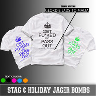 Get fucked and pass out hen stag and holiday tshirt