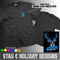 Stag with sunglasses breast pocket size  hen stag and holiday tshirt