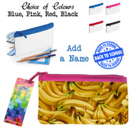 Personalised photo red black pink blue  pencil case school banana
