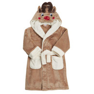 Boys girls Hooded Fleece Reindeer Bath Robe Kids Dressing Gown Nightwear 2-13Yrs