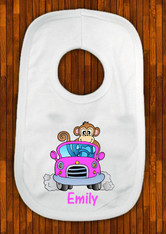 personalised pink car bib with monkey