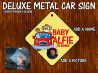 Cheeky monkey personalised Car Sign Baby on board