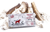 Crafted of 100% all-natural American-grown cotton rope and featuring one of our Mountain Medallions or lengths of Grade A elk antler, our Mountain Dog Chews Antler Chew Tussle Toy is a tasty and floppy chew toy that entertains pups for hours.